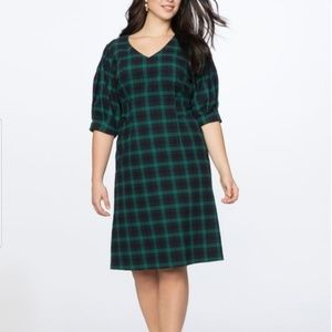 Eloquii V-Neck Plus Size Flannel Plaid Dress